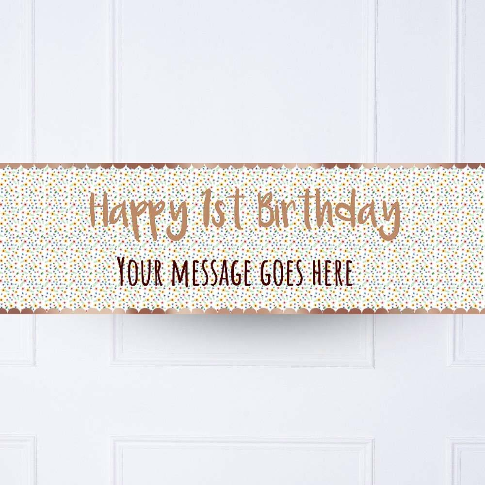 Rose Gold Floral 1st Birthday Personalised Party Banner