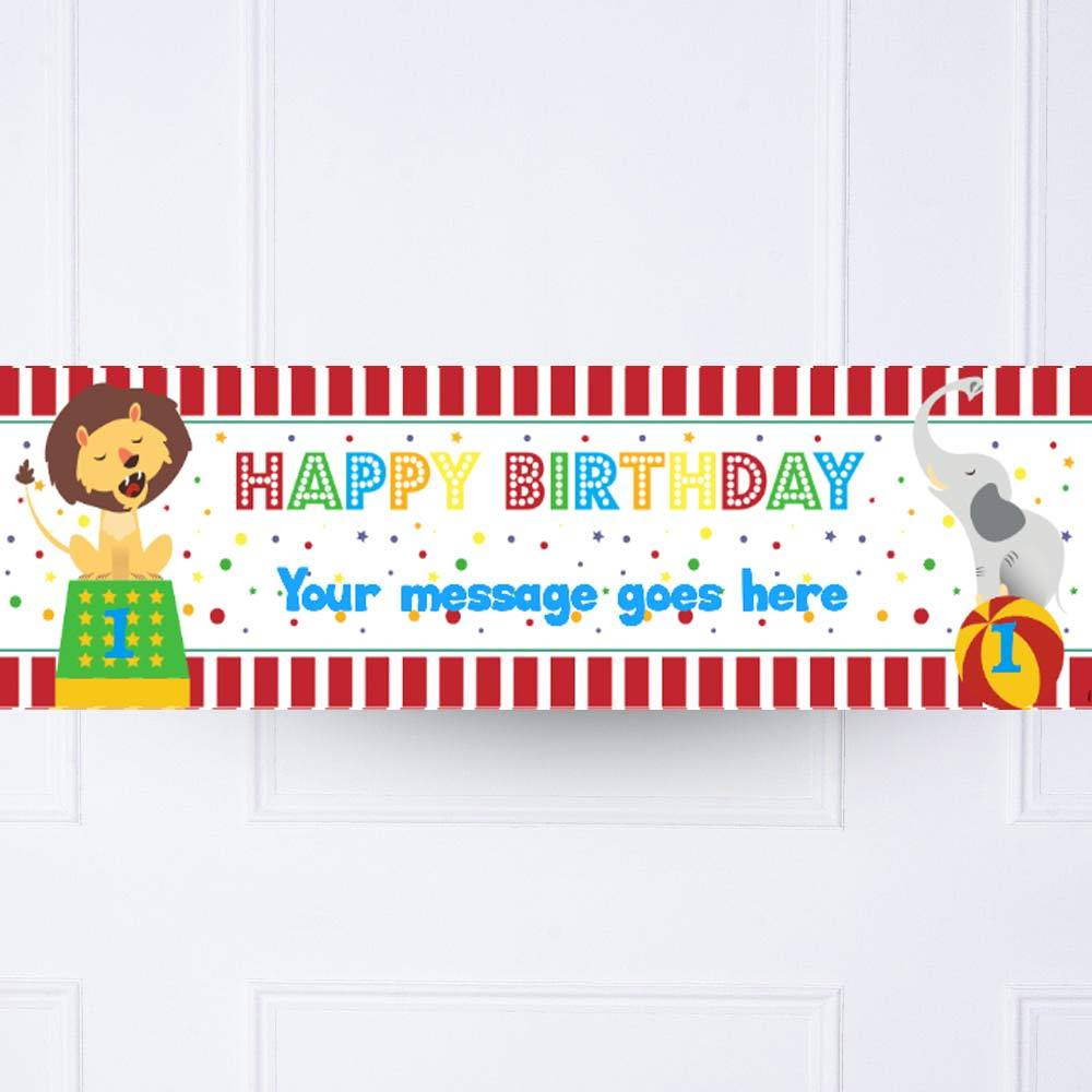 Circus 1st Birthday Personalised Party Banner