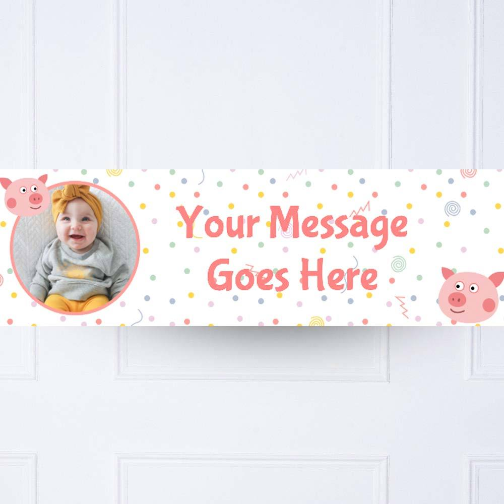 Little Pig 1st Birthday Personalised Party Banner