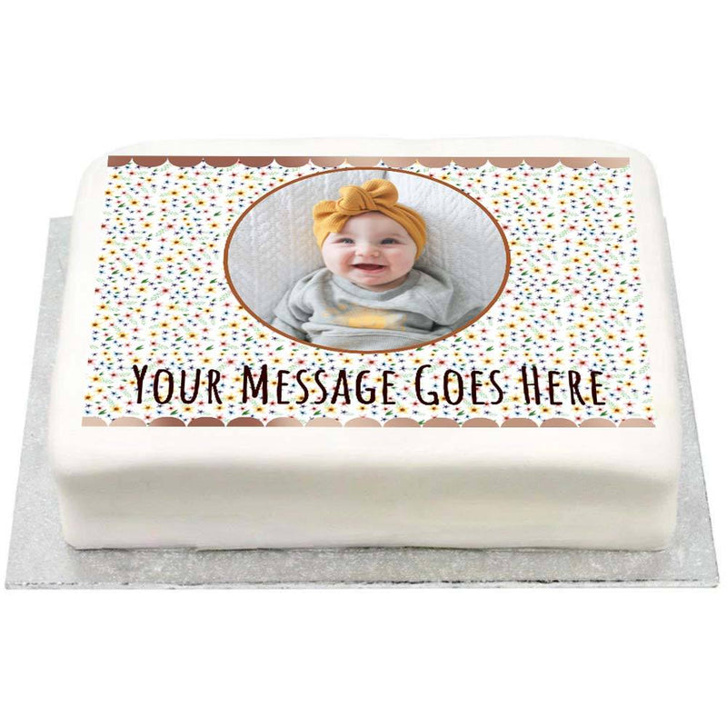 Personalised Photo Cake - Rose Gold Floral 1st Birthday