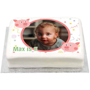 Personalised Photo Cake - Little Pig 1st Birthday