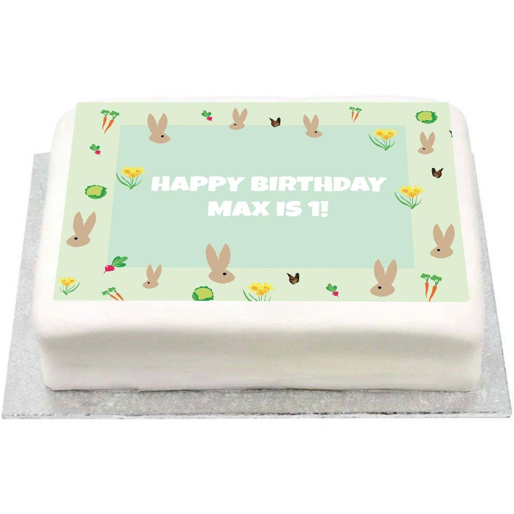 Personalised Photo Cake - Little Bunnies Kids Birthday