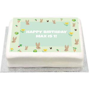 Personalised Photo Cake - Little Bunnies 1st Birthday