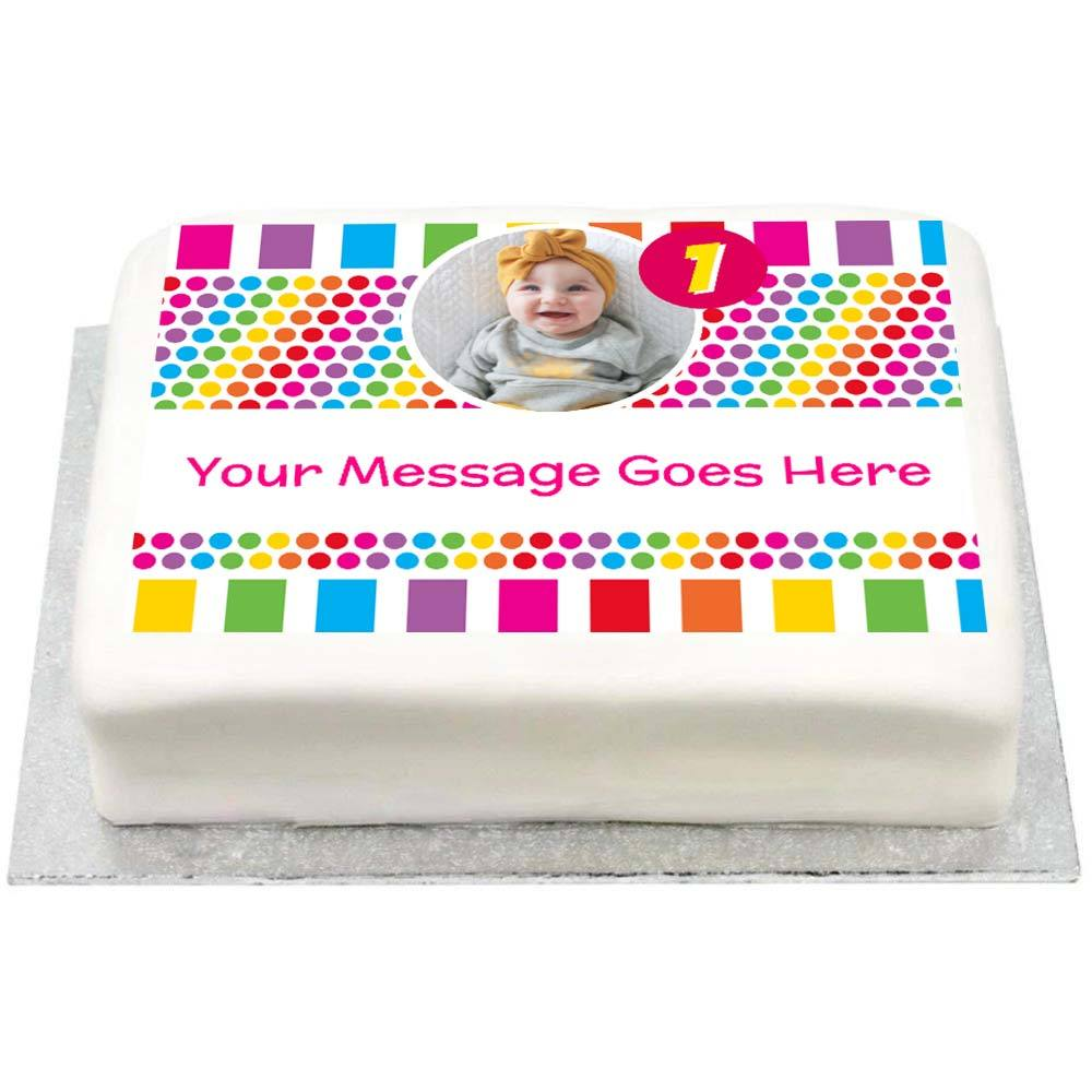 Personalised Photo Cake - Rainbow Stripe 1st Birthday