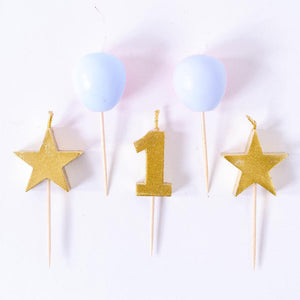 1st Birthday Blue Candle Set