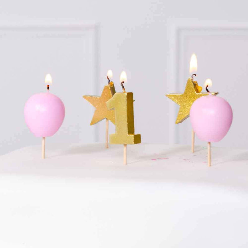 1st Birthday Pink Candle Set