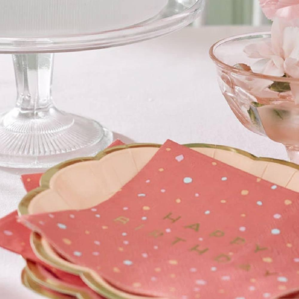 Rose Happy Birthday Party Napkins (x16)
