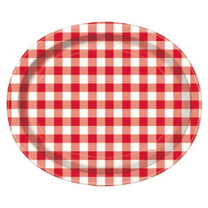Red Gingham Oval Serving Plates (x8)