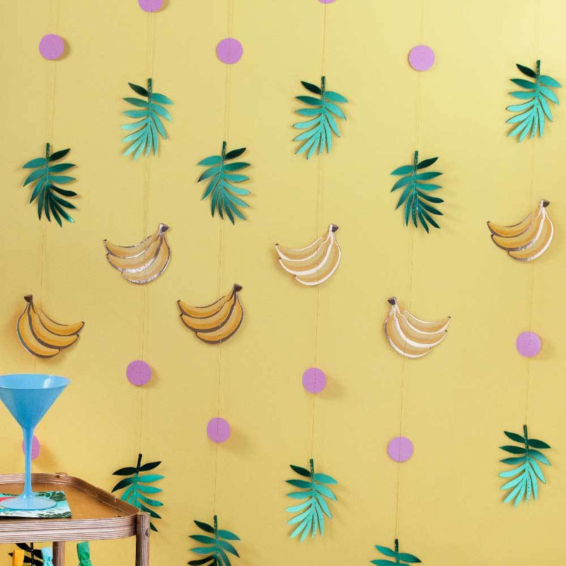 Gold Foiled Banana & Leaf Party Backdrop (x6)