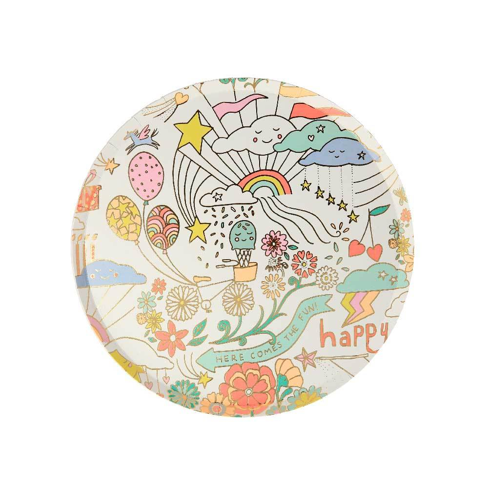 Happy Doodle Side Plates (x8)