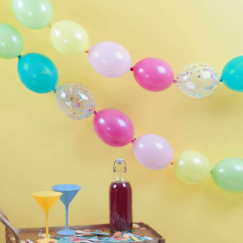 Multi-Coloured & Confetti Filled Linking Party Balloons (x24)