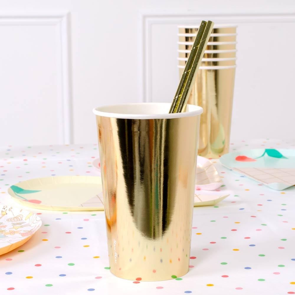 Gold Highball Cups x8