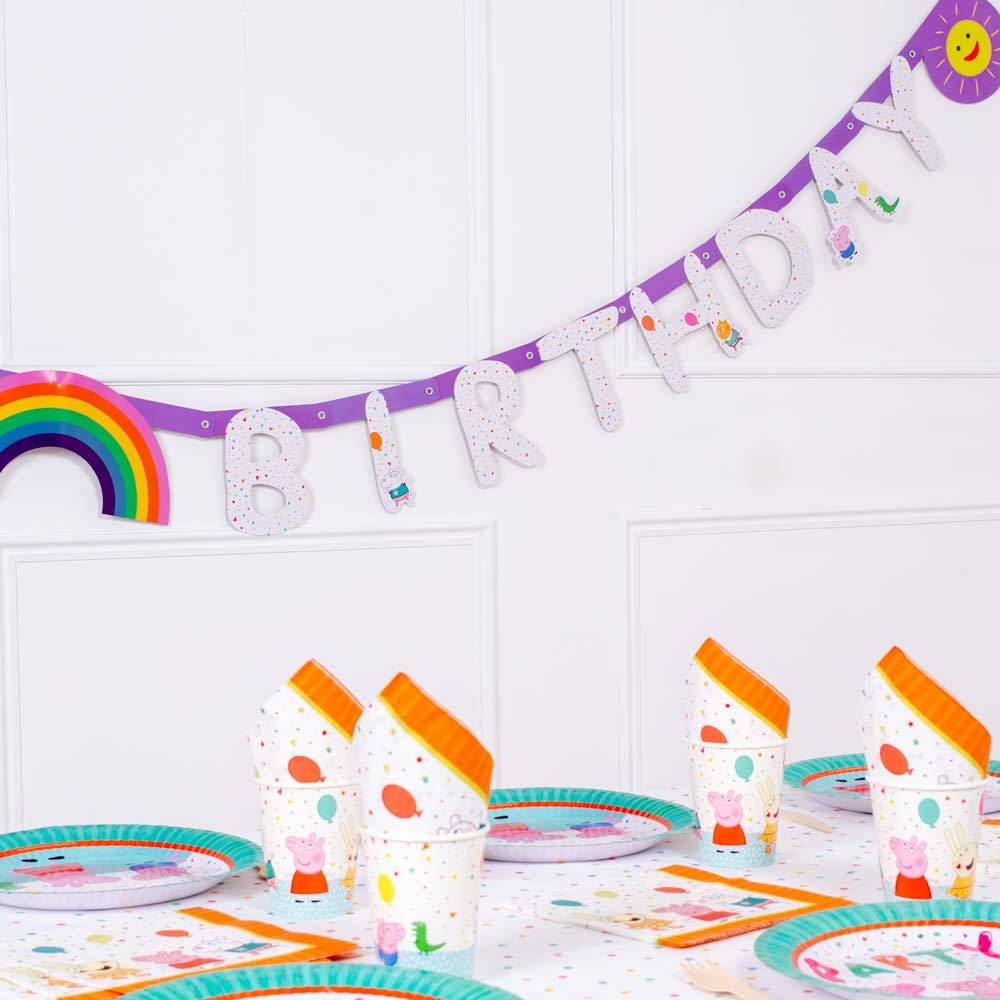 Peppa Pig Rainbow Happy Birthday Banner