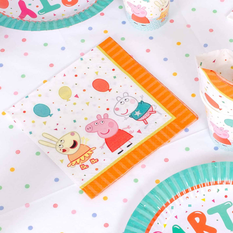 Peppa Pig Rainbow Paper Party Napkins (x20)