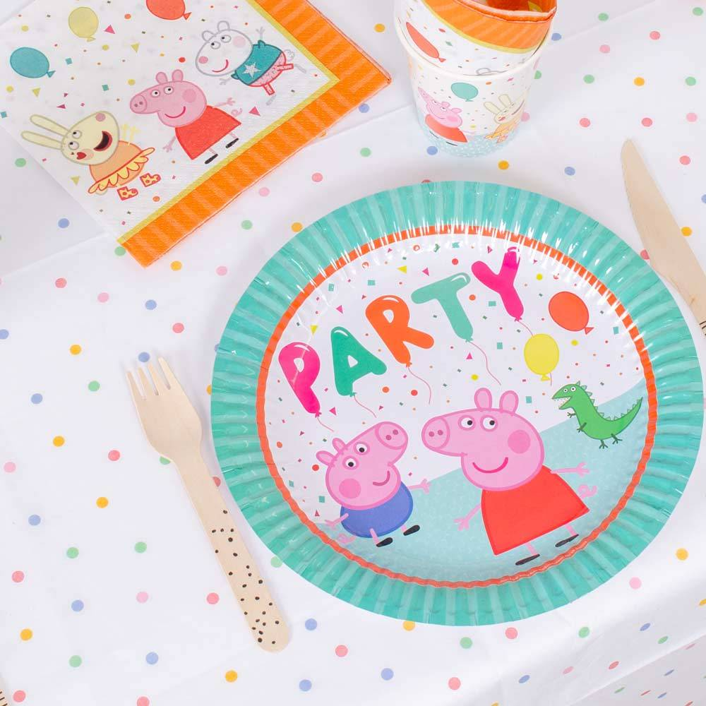 Peppa Pig Rainbow Paper Party Plates - Large (x8)