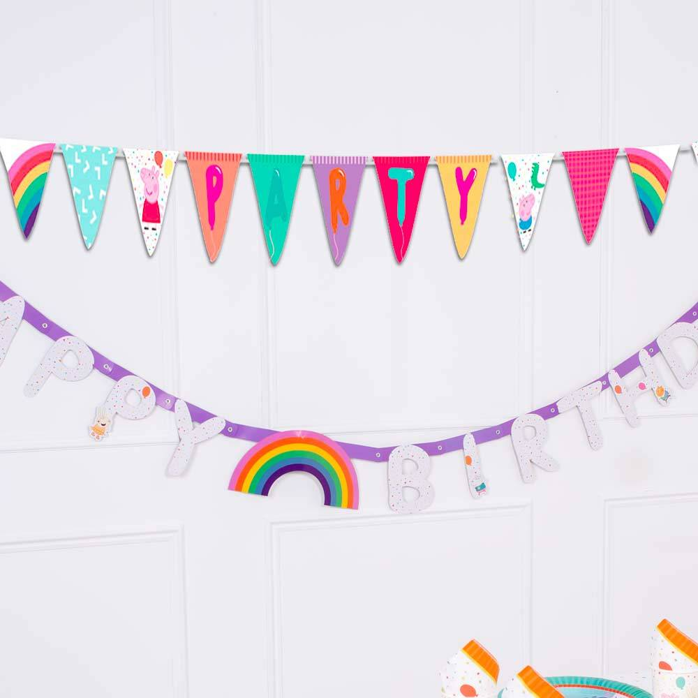 Peppa Pig Rainbow Party Flag Banner