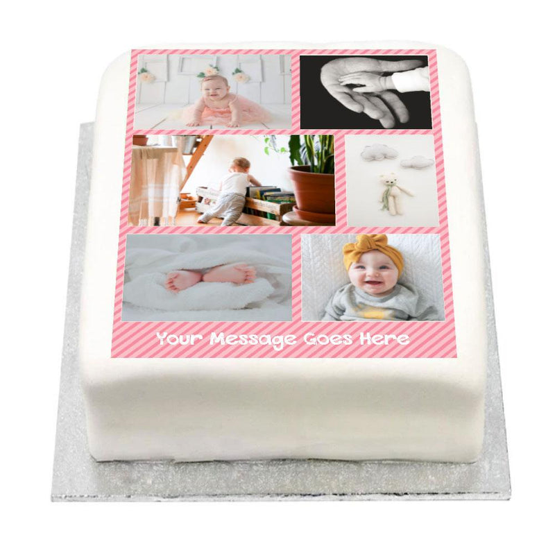 Personalised Multi Photo Cake - Pink Pastel 1st Birthday