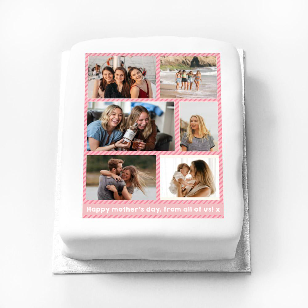 Personalised Multi Photo Cake - Pink Pastel Adult