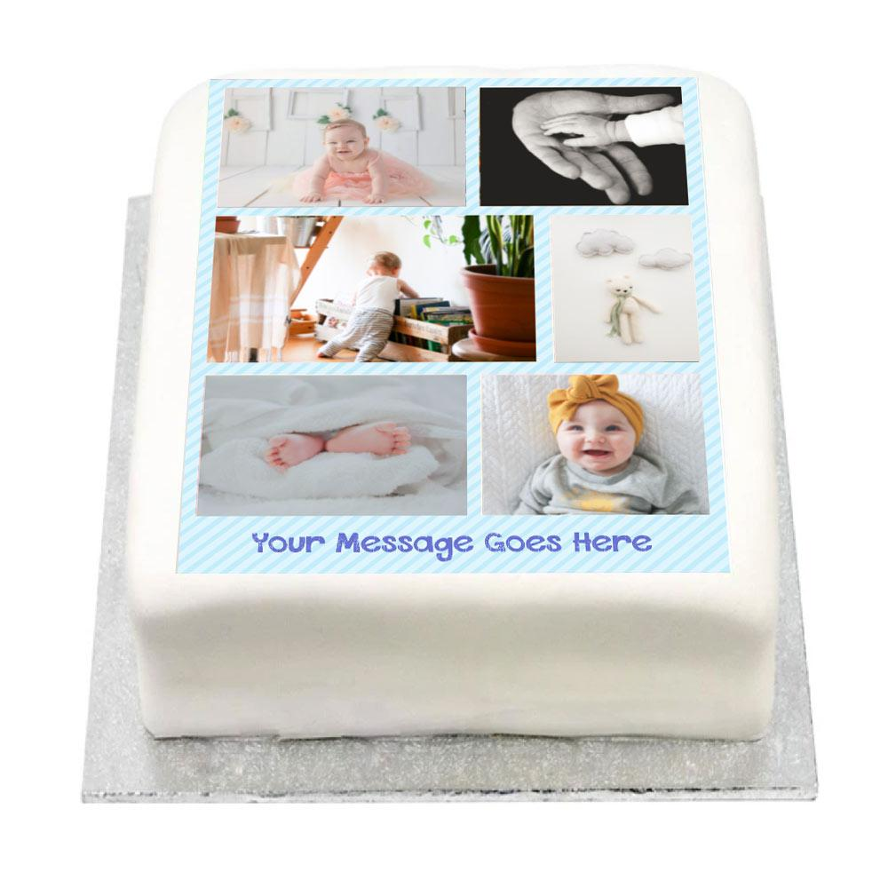 Personalised Multi Photo Cake - Blue Pastel 1st Birthday
