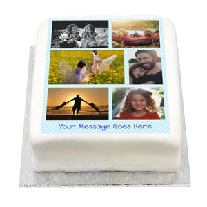 Personalised Multi Photo Cake - Blue Pastel Kids