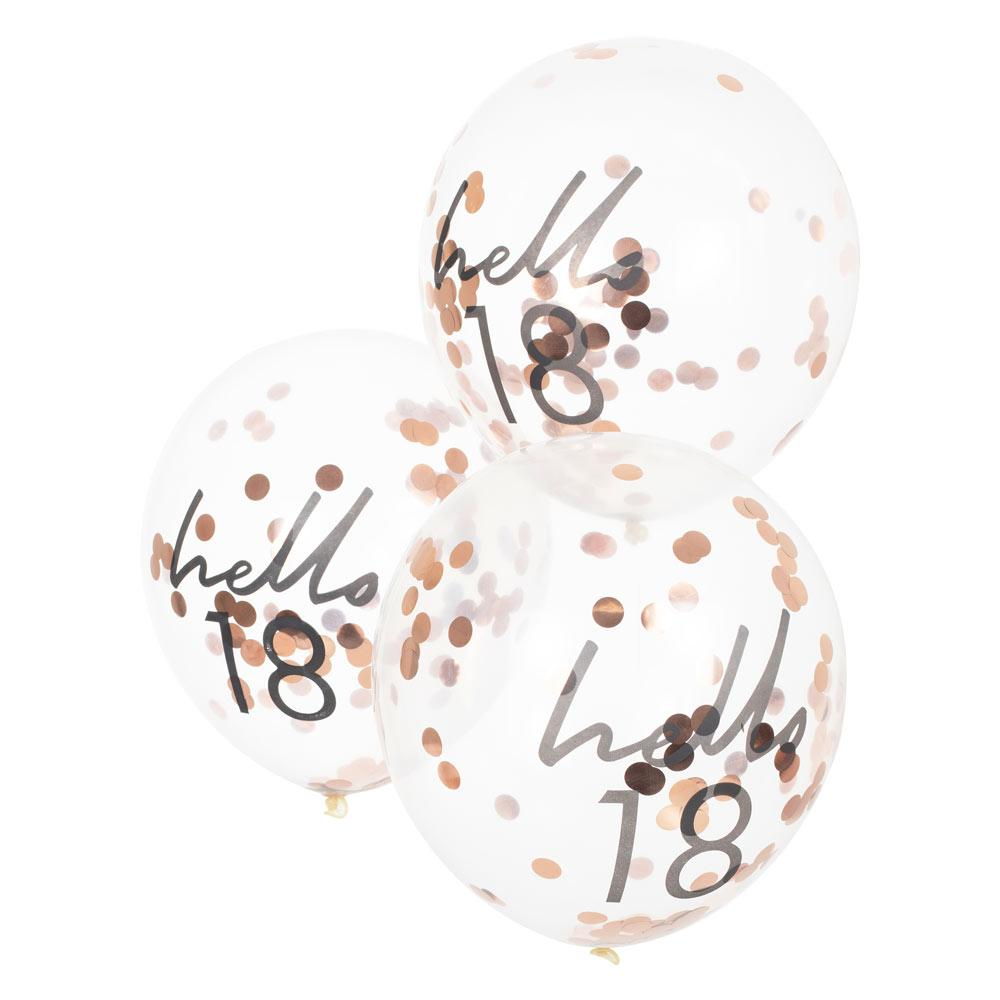 Rose Gold Confetti Filled 'Hello 18' Balloons