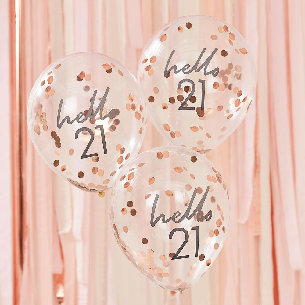 Click to view product details and reviews for Rose Gold Confetti Filled Hello 21 Balloons.