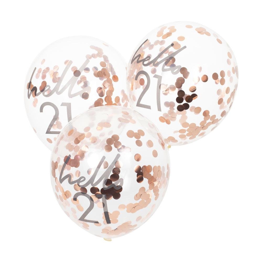 Rose Gold Confetti Filled 'Hello 21' Balloons