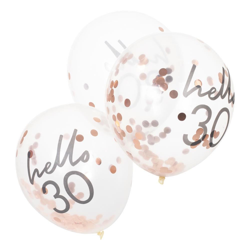 Rose Gold Confetti Filled 'Hello 30' Balloons
