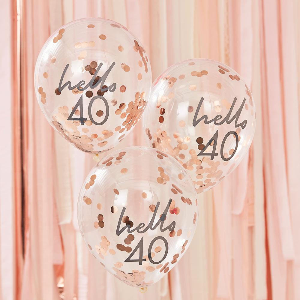 Rose Gold Confetti Filled 'Hello 40' Balloons