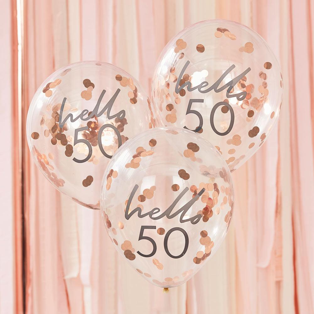 Rose Gold Confetti Filled 'Hello 50' Balloons