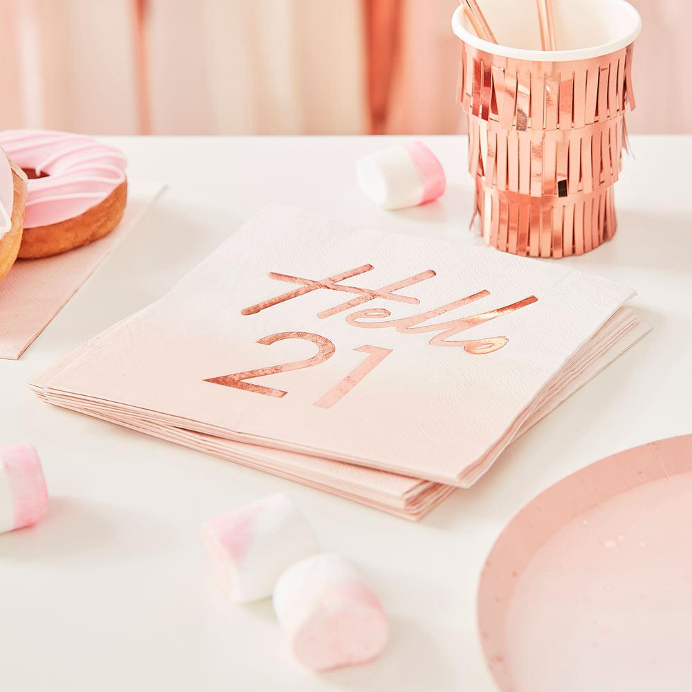 Rose Gold Foiled Watercolour Napkin - Hello 21