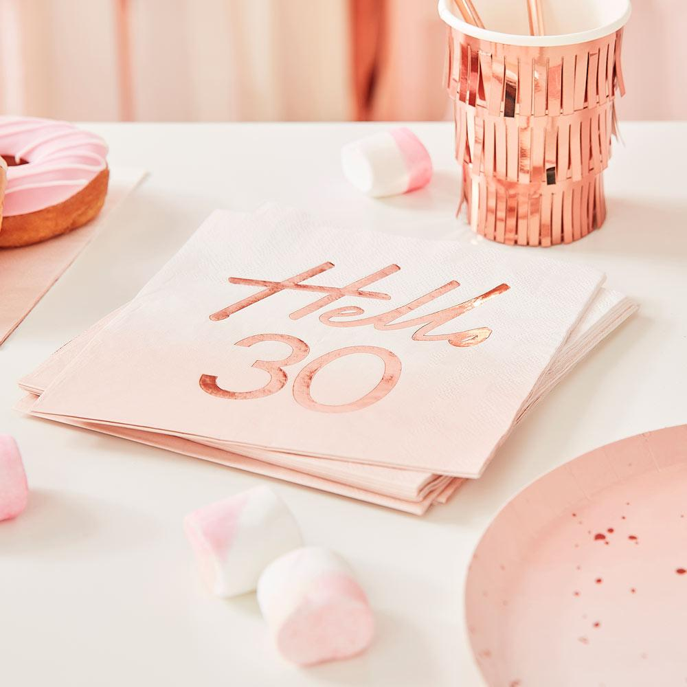 Rose Gold Foiled Watercolour Napkin - Hello 30
