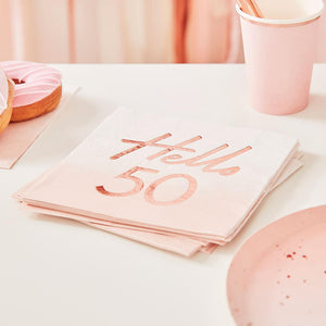 Rose Gold Foiled Watercolour Napkin - Hello 50