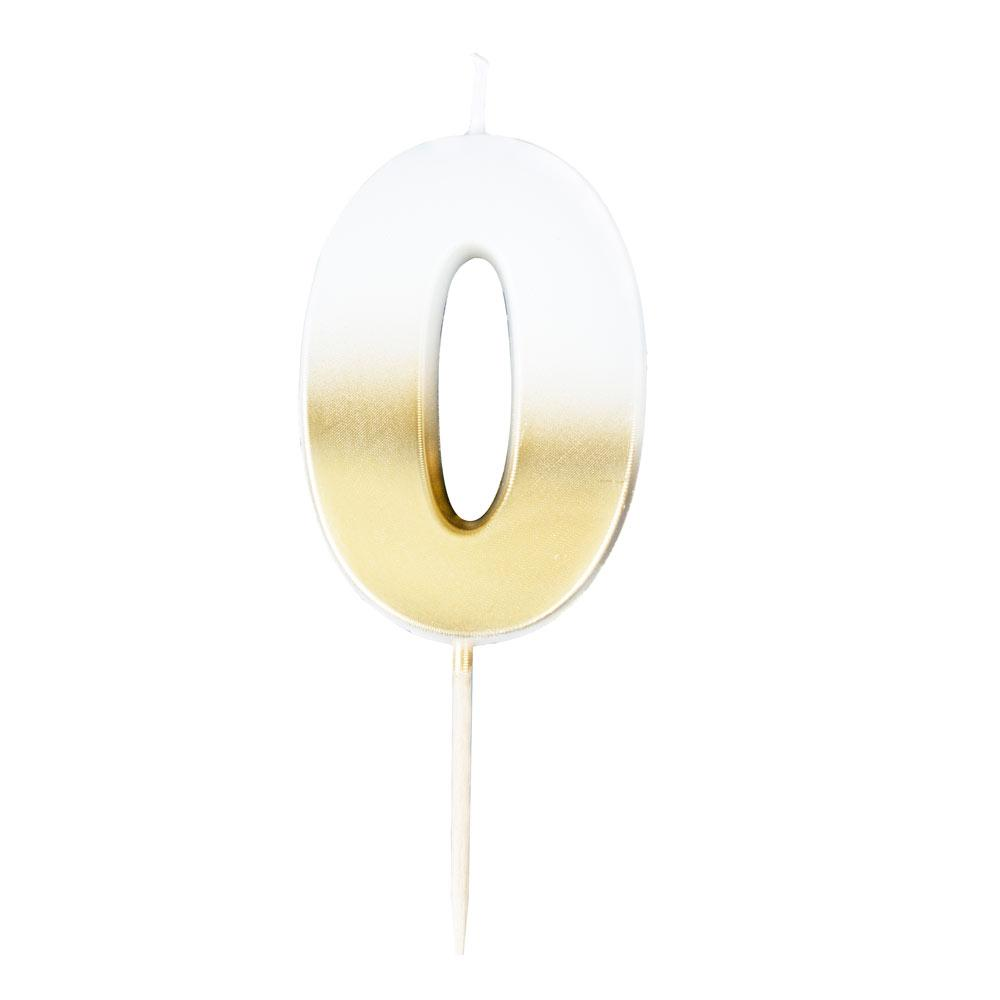Gold Ombre Number Candle - 0