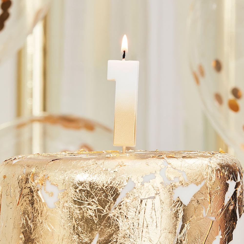 Gold Ombre Number Candle - 1