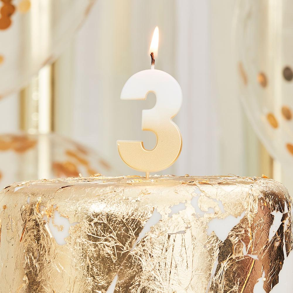 Gold Ombre Number Candle - 3