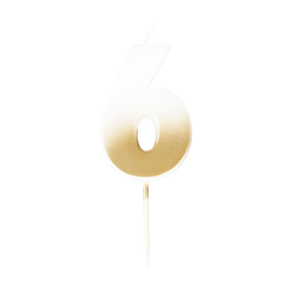 Gold Ombre Number Candle - 6