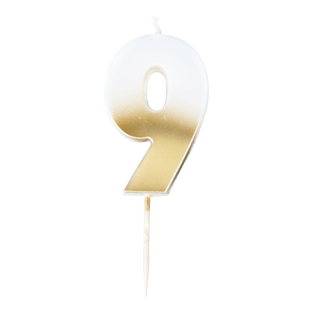 Gold Ombre Number Candle - 9
