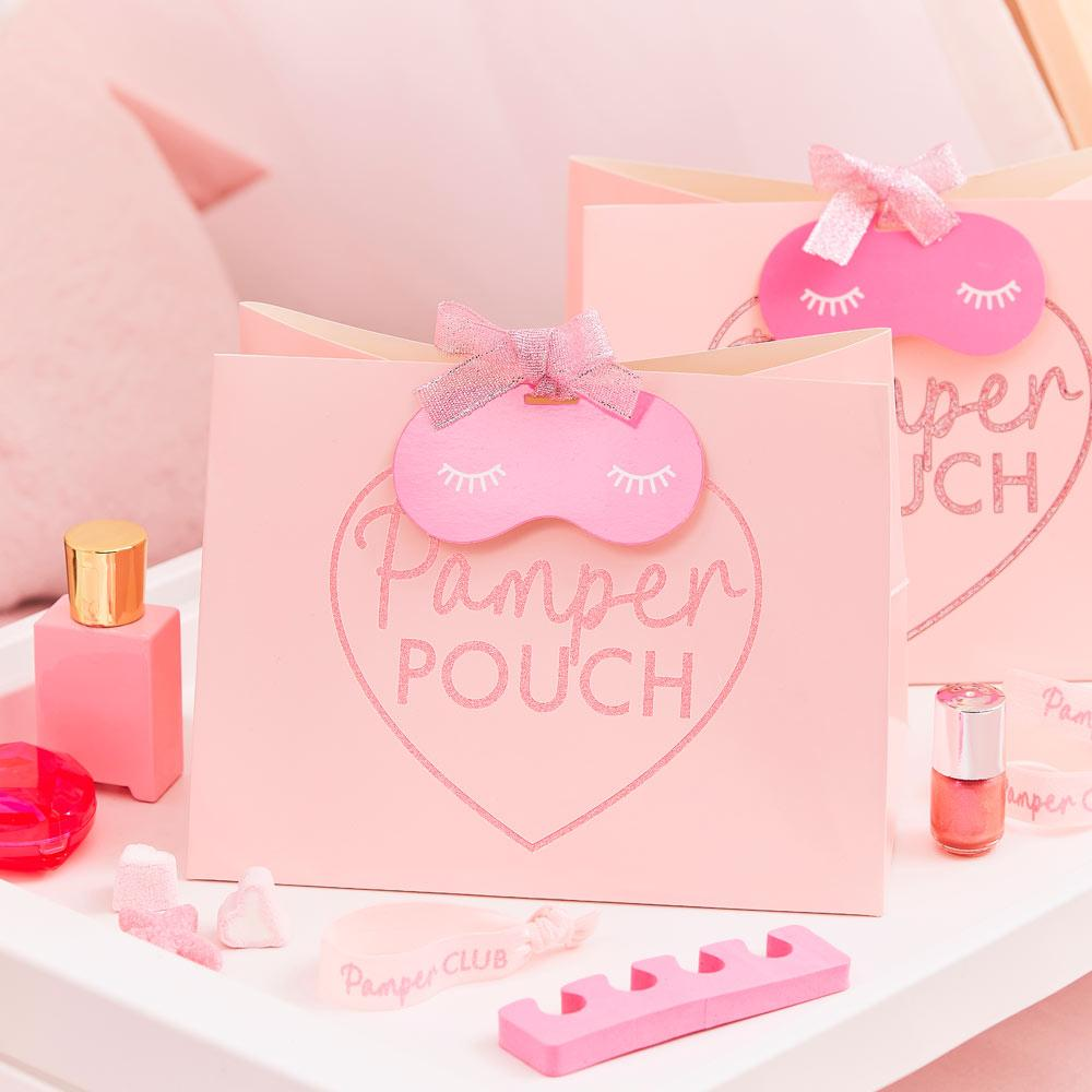 Pamper Party Pink Glitter Pouches (x5)