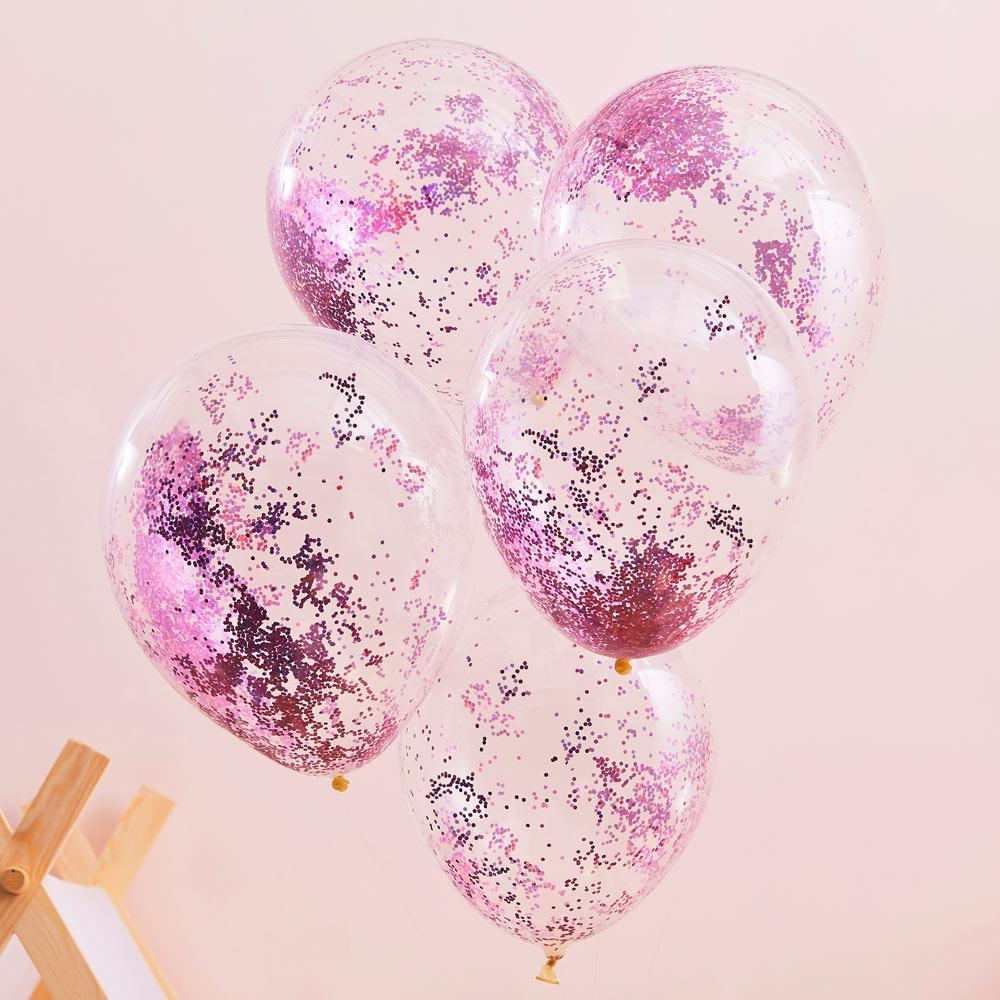 Pink Glitter Filled Balloons (x5)