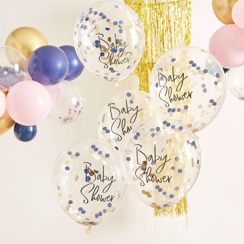 Gender Reveal 'Baby Shower' Confetti Balloons (x5)