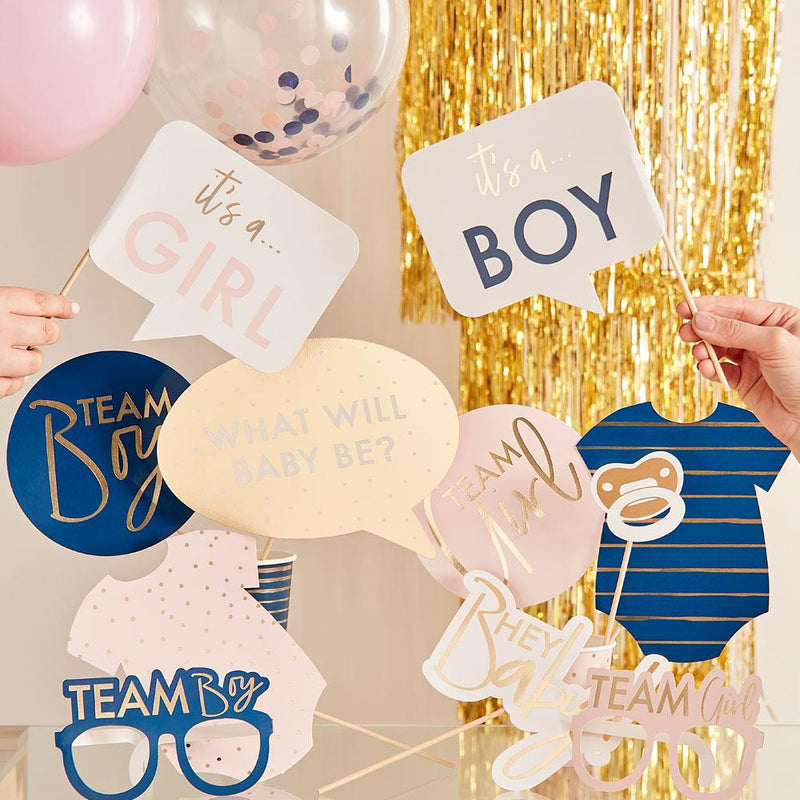 Gold Foiled Gender Reveal Photo Booth Props