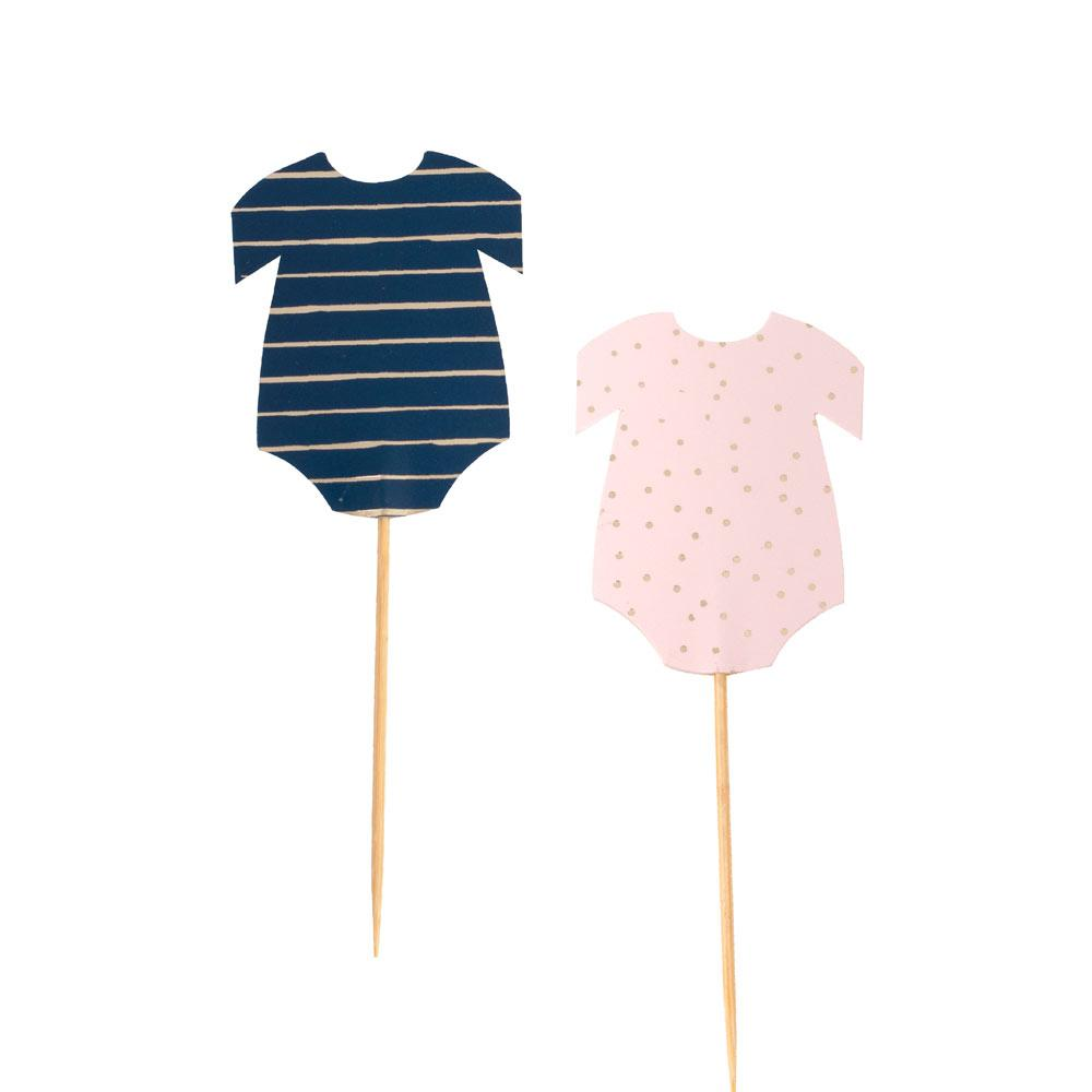 Gold Foiled Pink & Navy Baby Grow Cupcake Toppers (x12)