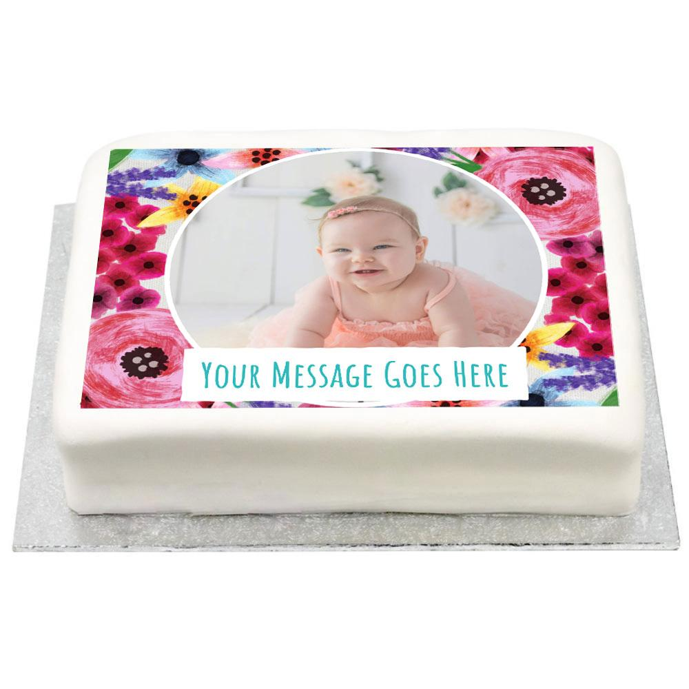 Personalised Photo Cake - Watercolour Flowers 1st Birthday