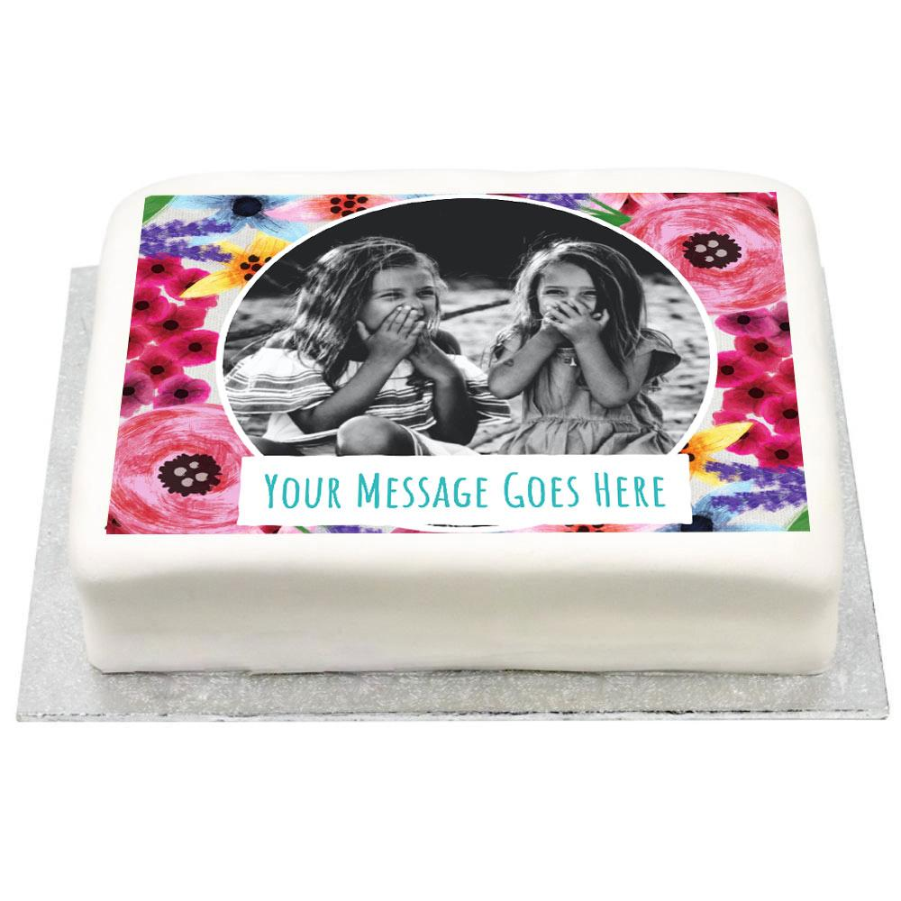 Personalised Photo Cake - Watercolour Flowers Kids