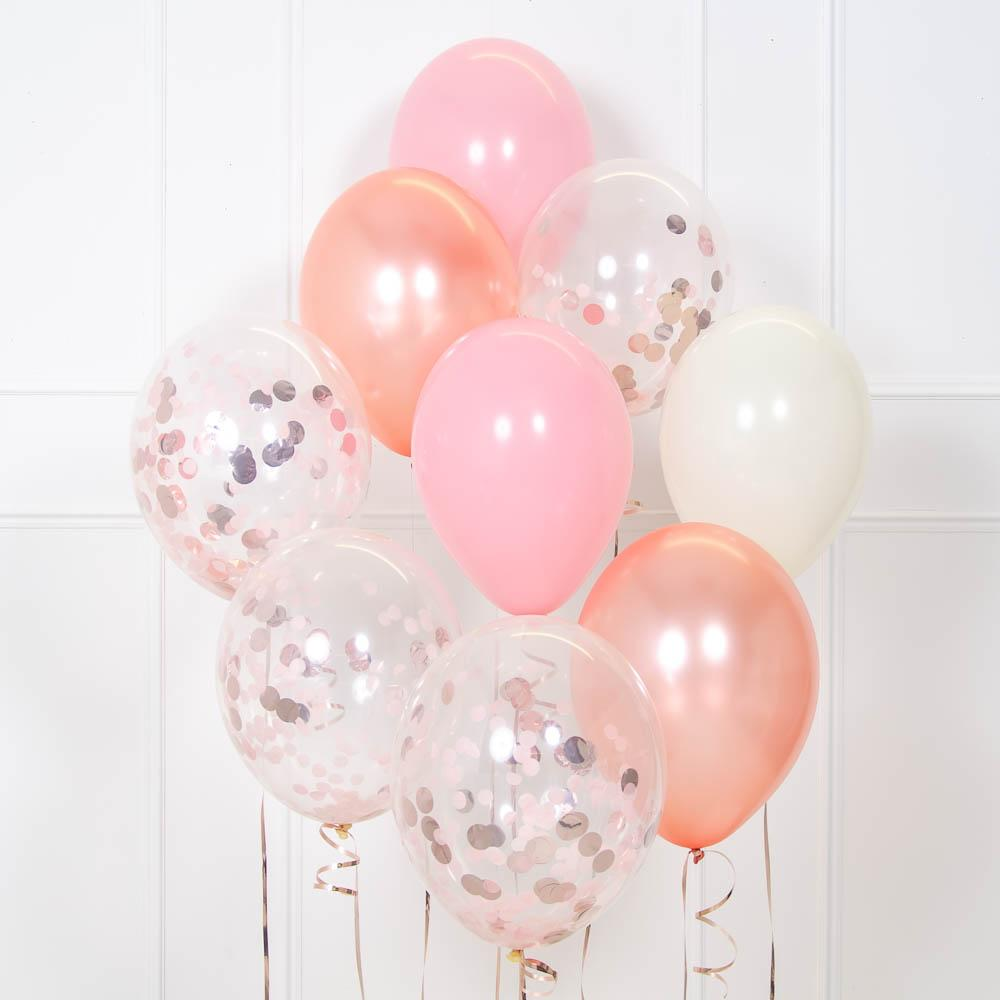 Click to view product details and reviews for Confetti Balloon Bouquet Rose Gold Pink.