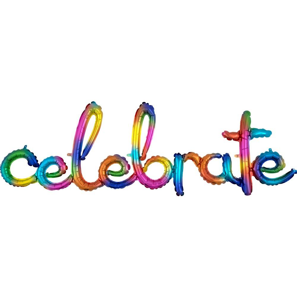 Celebrate Rainbow Foil Phrase Balloon