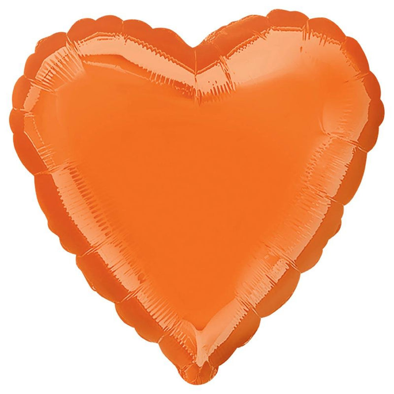 Heart Foil Balloon - Metallic Orange