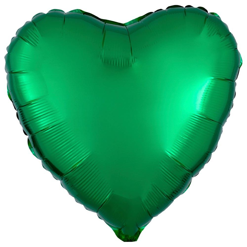 Heart Foil Balloon - Metallic Green