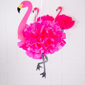 Fluffy Flamingo Hanging Decorations (x3)